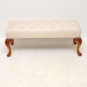 antique carved walnut foot stool bench