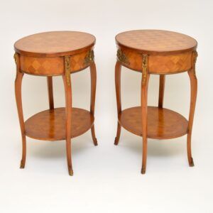 pair of antique french parquetry side tables