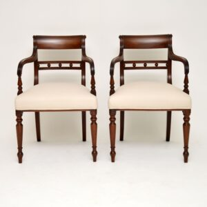 pair of antique mahogany georgian armchairs side chairs carvers