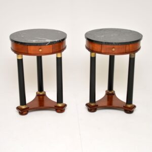pair of antique marble top side tables