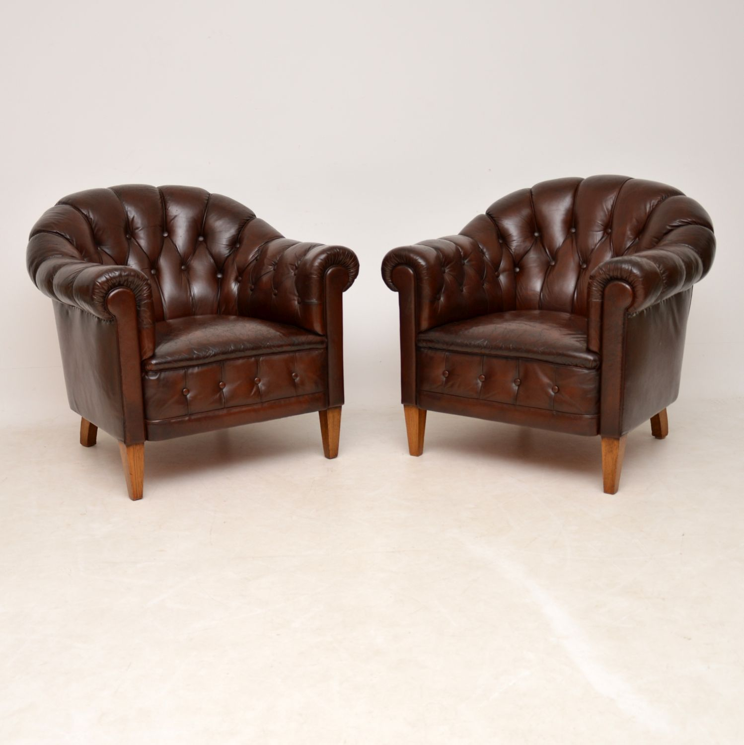pair of antique swedish leather club chairs armchairs