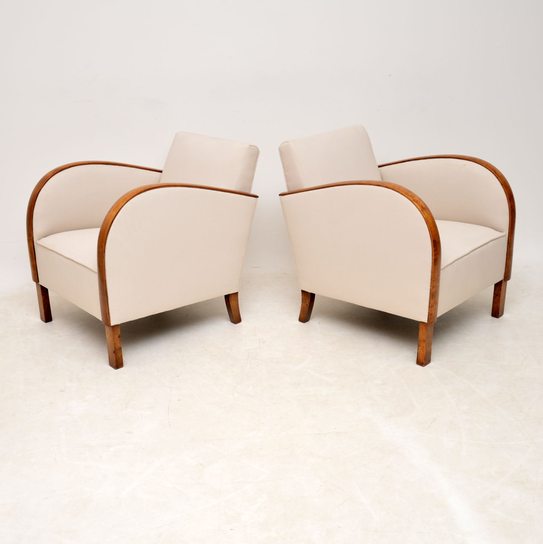pair swedish art deco satin birch armchairs