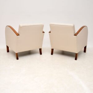 pair swedish art deco satin birch armchairs