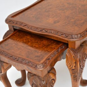 Antique Burr Walnut Nesting Coffee Table / Side Tables