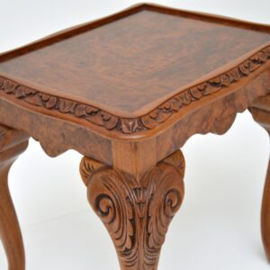antique burr walnut nesting coffee table side tables