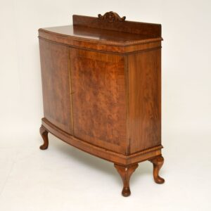 Antique Queen Anne Style Burr Walnut Cabinet Sideboard