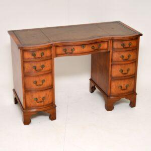 antique georgian yew wood leather top pedestal desk