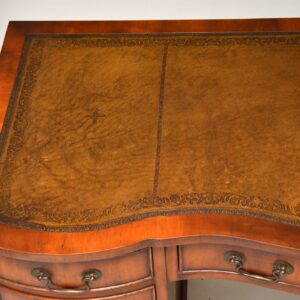 antique georgian yew wood leather top pedestal desk