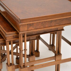 Antique Chippendale Style Burr Walnut Nest of Tables