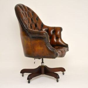 Antique Georgian Style Leather Swivel Desk Chair