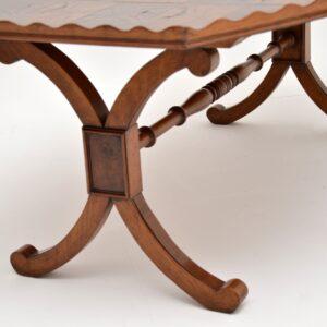 antique yew wood oyster veneer coffee table