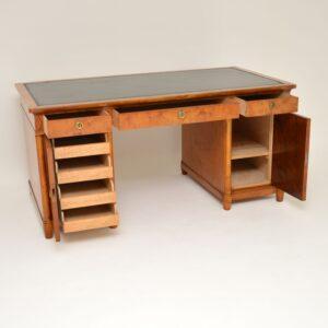 Antique Swedish Satin Birch Pedestal Desk