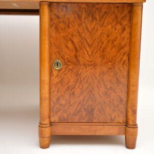 antique swedish satin birch leather top desk