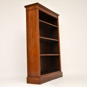 antique victorian walnut open bookcase