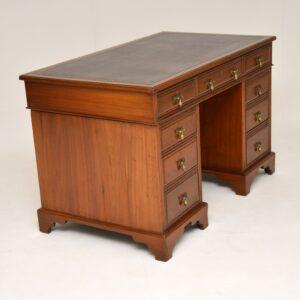 Antique Victorian Walnut Leather Top Desk