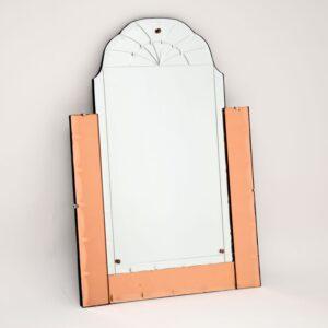 art deco peach glass mirror