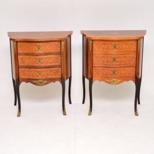 pair of antique french inlaid marquetry bedside chests cabinets