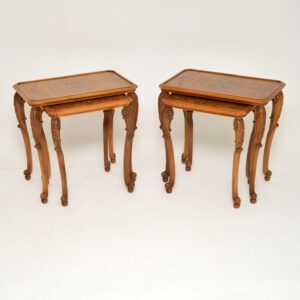 pair of antique burr walnut nesting side tables