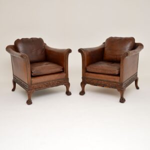pair of antique swedish leather mahogany armchairs