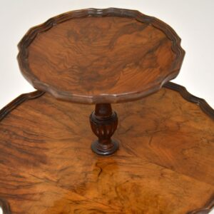 antique walnut two tier wine side table