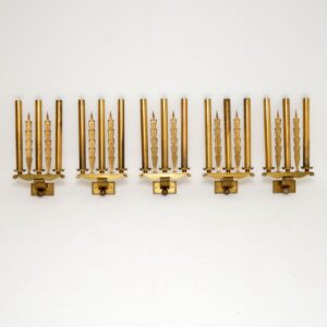 set of five antique brass neo classical wall sconce lamps