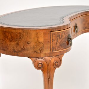 Antique Burr Walnut Kidney Writing Table Desk