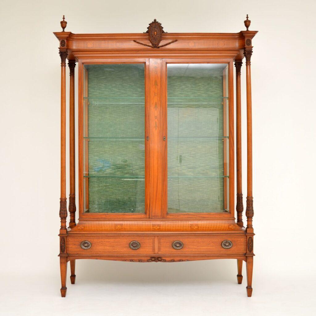 antique edwardian inlaid satin wood display cabinet