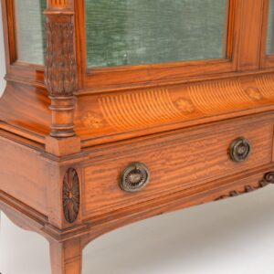 antique edwardian inlaid satin wood display cabinet