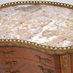 antique french marble top kidney side table chest