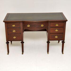 antique inlaid mahogany leather top desk