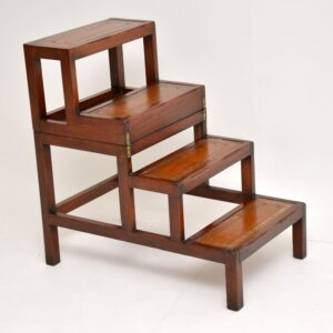 Antique Mahogany & Leather Folding Library Steps / Coffee Table