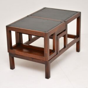 antique mahogany leather library steps coffee table