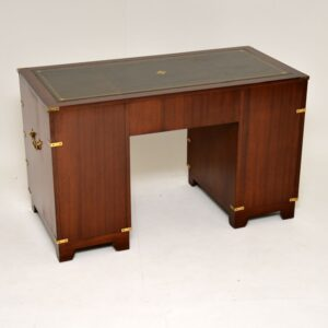 Antique Mahogany & Leather Military Campaign Style Desk
