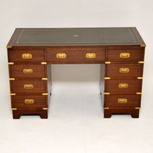 antique mahogany and leather military campaign style pedestal desk