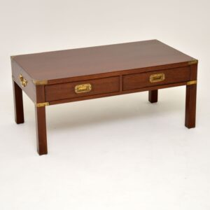 Antique Military Campaign Style Mahogany Coffee Table