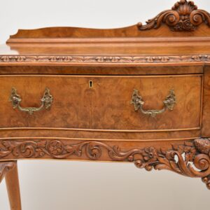 antique burr walnut server console side table