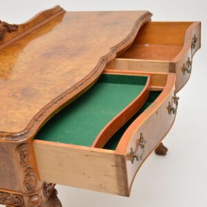 antique burr walnut server console side table