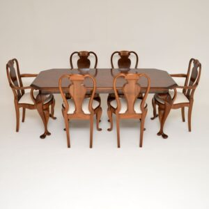 Antique Queen Anne Style Burr Walnut Dining Chairs & Table