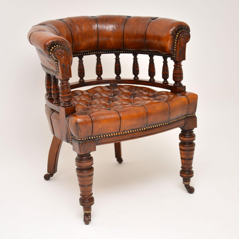 antique leather captains desk chair armchair