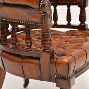 Antique Victorian Mahogany & Leather Desk Chair