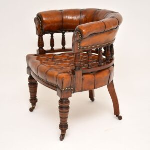 antique leather captains desk chair armchair