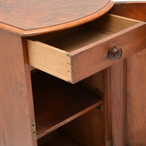 antique victorian burr walnut bedside cabinet