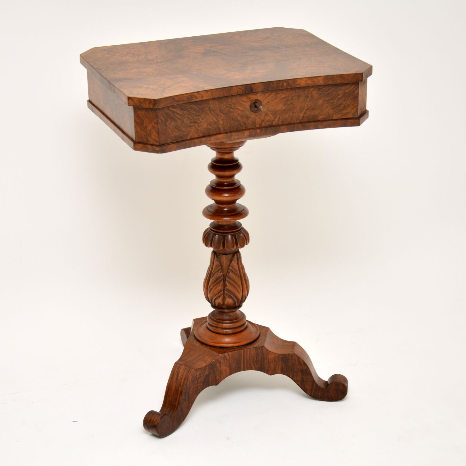 antique victorian burr walnut sewing box table