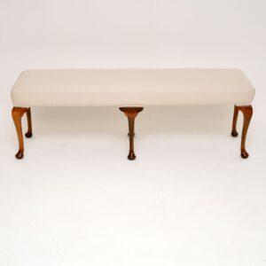 Antique Edwardian Walnut Upholstered Stool