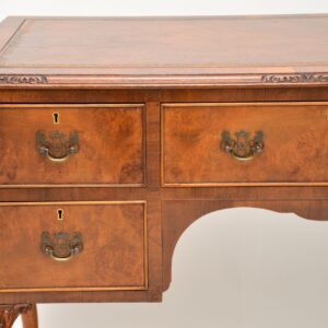 antique burr walnut leather top desk writing table