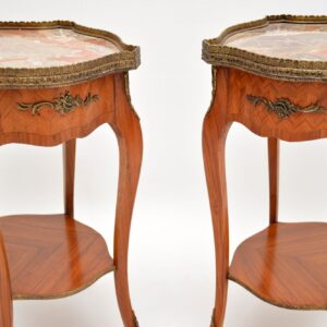 pair of antique french marble top side tables