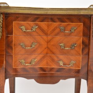 pair of antique french inlaid marble top bedside side chests tables cabinets