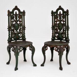 pair antique victorian wrought iron garden chairs