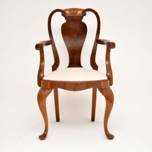 antique queen anne walnut dining table and chairs