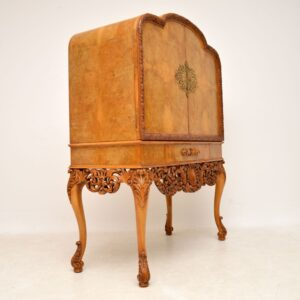 Antique Burr Walnut Cocktail Drinks Cabinet By Hille 3